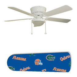 """Florida Gators 52"""" Ceiling Fan with Lamp - This is a brand new 52-inch 5-blade ceiling fan with a dome light kit and designer blades and will be shipped in original box. It is white with a flushmount design and is adjustable for downrods if needed. This fan features 3-speed reversible airflow for energy efficiency all year long. Comes with Light kit and complete installation/assembly instructions. The blades are easy to clean using a damp-not wet cloth. The design is on one side only/opposite side is bleached oak. Made using environmentally friendly, non-toxic products. This is not a licensed product, but is made with fully licensed products. Note: Fan comes with custom blades only."""