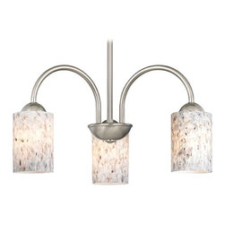 Design Classics Lighting - Chandelier with Grey Art Glass in Satin Nickel Finish - 592-09 GL1025C - Transitional satin nickel 3-light chandelier with mistral grey cylinder art glass shades. Takes (3) 100-watt incandescent A19 bulb(s). Bulb(s) sold separately. UL listed. Dry location rated.