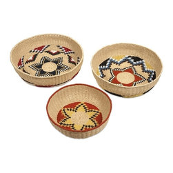 "IMAX CORPORATION - Okimma Baskets - Set of 3 - The Okimma bowl shaped baskets are expertly woven from paper rope with a bold Navajo inspired pattern. Set of 3 baskets in varying sizes measuring approximately 5-6-6""H x 14.5-18-19.5""W x 14.5-18-19.5"" each. Shop home furnishings, decor, and accessories from Posh Urban Furnishings. Beautiful, stylish furniture and decor that will brighten your home instantly. Shop modern, traditional, vintage, and world designs."