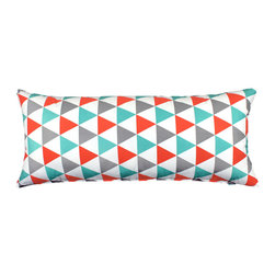 """LaCozi - """"Becca"""" Aqua & Coral Body Pillow Cover - Cover all the angles in style. This 100 percent cotton cover just made your favorite body pillow even more fun to hug."""