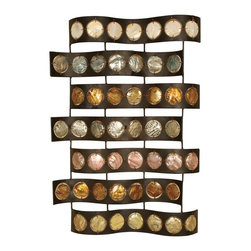 Passport - Capiz Shell Wall Art - Hooks on back for easy hanging. Stones are set inside metal circles. Seven wavy lines of black metal surround colorful capiz shells. Rows of bronze finished metal hold capiz shell in pastel colors. Six months warranty. Made from metal. No assembly required. 19.5 in. W x 2 in. D x 28 in. H (6 lbs.)Multi color to match any room.