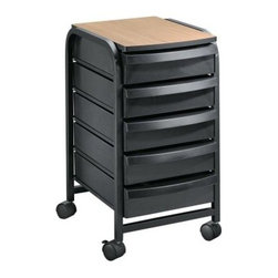 Alvin Taboret/Mobile Organizer - What We Like About This TaboretGreat for a simple storage solution at home or a mobile carrying case for essentials at the office. Five large plastic drawers lay underneath a hard surface. Two of the four hooded casters lock easily with a foot-operated mechanism. Each shelf is 3.5 inches deep.