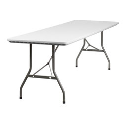Flash Furniture - Flash Furniture 30 x 96 Plastic Folding Table - RB-3096-GG - Commercial grade folding table that is designed to withstand the test of time! Flash Furniture's 30''W x 96''L folding table features a durable stain resistant blow molded top and sturdy frame. The blow molded top is super low maintenance and cleans easily. This 8 ft. table locks in place in a snap with the leg locking system for easy set-ups. This table can be used as a temporary seating solution or set-up in a permanent location for everyday use. [RB-3096-GG]