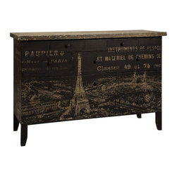 Bernadette Sideboard - We love this unusual sideboard glamorously printed with the distinguished streets of Paris. The rustic tones and antiqued lettering stand out handsomely but subtly against the deep black finish. An array of 11 easy-to-organize drawers mean you'll have everything you need right on hand as it's needed.