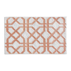 InterDesign - Coral Trellis Bath Rug - Featuring a striking design, this fashionable and functional rug absorbs water quickly and features a no-slip construction for added safety.   34'' W x 21'' H 100% microfiber polyester Machine wash Imported