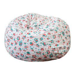 Great Deal Furniture - Ashley 3Ft Owl Multi-Color Fabric Bean Bag Chair - Lounge in style with the Ashley 3-foot owl bean bag. The lively owl pattern and plush fabric makes this an inviting piece for any child or adult. Its microfiber fabric is soft to the touch and the bold colors will add a twist to almost any decor. Made in the United States with an eco-friendly foam filler, this bean bag offers a luxurious and comfortable option to your in home lounging experience.