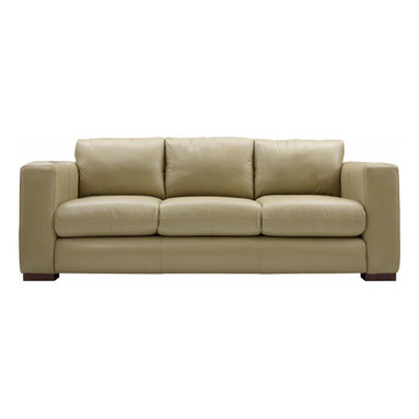 """Liz Ann's Interior Design Boutique - This contemporary three cushion sofa is beautifully crafted and built for comfort.  Available in Luxtan Cream leather.  Choose from a selection of beautiful wood finishes.  Legs: Square.  Outside Dimensions: 32Hx86.5Wx37.5D.  Inside Dimensions: 15Hx68.5Wx23D.  Seat Height: 17"""".  Arm Height: 25.25"""".  Loose back pillows zippered to seat."""