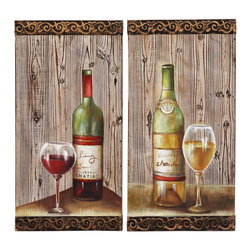 ecWorld - Urban Designs Le Chateu Wine Bottles Wood Wall Accent Decor - 2-Piece Set - The colorful pair of wall panels are handcrafted and weathered by expert artisans.  Ideal display pieces for your kitchen, bar or entertaining area, they are sure to uplift any wall decor. Versatile beauty and durability, this wine wall art is ideal to uplift your wall decor.
