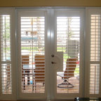 Regency - Enhance your French doors and sidelites with plantation shutters,the shutters stay on the doors as you open and close. They are hinged so the window panes can be washed.
