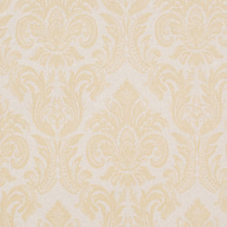 Romosa Wallcoverings - Beige / Yellow Brown Classic Damask Victoria Gallic Wallpaper - - Color: Beige / Yellow Brown