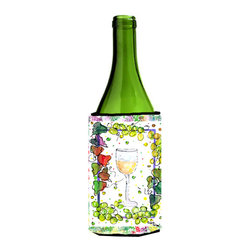 Caroline's Treasures - White Wine  Bottle Koozie Hugger - White Wine  Bottle Koozie Hugger Fits 750 ml. wine or other beverage bottles. Fits 24 oz. cans or pint bottles. Great collapsible koozie for large cans of beer, Energy Drinks or large Iced Tea beverages. Great to keep track of your beverage and add a bit of flair to a gathering. Wash the hugger in your washing machine. Design will not come off.
