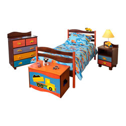 Boys Like Trucks Twin Bed, Chocolate - Trucks ride around on the headboard waves of this quality twin bed, made of solid hardwood finished with chocolate and brightly colored stains. Includes headboard, footboard, rails, mattress slats, 4 sturdy casters, and finials.