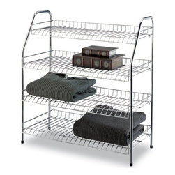 Organize It All - Chrome 4 Tier Storage Shelf - Our Four tier rack to provide extra storage space for any room in your home. Chrome finish for a modern clean look.