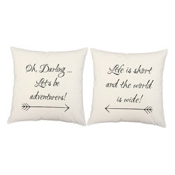 RoomCraft - Be Adventurers Throw Pillow Covers 16x16 Square White Shams - FEATURES: