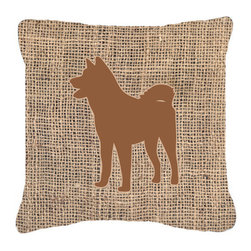 Caroline's Treasures - Akita Burlap and Brown Fabric Decorative Pillow Bb1082 - Indoor or Outdoor Pillow made of a heavyweight Canvas. Has the feel of Sunbrella Fabric. 14 inch x 14 inch 100% Polyester Fabric pillow Sham with pillow form. This pillow is made from our new canvas type fabric can be used Indoor or outdoor. Fade resistant, stain resistant and Machine washable.