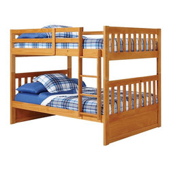 Woodcrest - Pine Ridge Mission Full over Full Bunk Bed - WCM679 - Shop for Bunk Beds from Hayneedle.com! Your children will love the Pine Ridge Mission Full over Full Bunk Bed for its large sleeper space yet cozy single bed stacked design. Crafted with durable wood this bunk bed features clean lines and classic slatted headboards and footboards that come in select finish options. Complete the ensemble with optional under-bed storage drawers or a trundle bed. Two spacious side-by-side drawers slip under the bottom bunk to catch extra blankets books toys and clothing. Each drawer is finished with dual wood knobs for smooth easy operation. Each bed comes with a weight capacity of 180 pounds and fits a 6.5-inch high mattress. Bed Dimensions: 78L x 57.63W x 61.5H inches.Hand-finishing for lasting quality: The 4-step finish includes:1. Staining2. Sealer - sealing the grain of the wood and locking in the stain color.3. Hand Sanding - all parts are sanded by hand to prep for last step.4. Lacquer Varnish - all parts are hand sprayed with lacquer varnish to protect the furniture.Configuration:Bunk bed + TrundleBunk bed + Under bed drawersBunk bed onlyAbout Woodcrest ManufacturingIn business for nearly twenty years Woodcrest Manufacturing has grown beyond its simple origins in Peru Indiana to become a leader in global furniture industry partnerships. They specialize in stairway bunk bed designs and all their products are tested by independent laboratories to ensure top safety in your child's bedroom.
