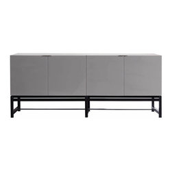 Minotti - Minotti Harvey Living Console - A set of remarkably elegant storage units with character, enhanced by lightweight volumes and a contemporary style.  Harvey means a perfect blend of traditional and modernity, its brown coffee wood base contrasting with the bright lacquered cabinets and sophisticated, black-nickel finish metal details.  A console with perfect sizes and proportions.  Finishes include a glossy lacquer in stone grey, coffee brown, white, mud, petroleum, granite, or sand colors with matching interior finish.  Three lengths available, and units are available in a variety of drawer and door combinations. Price includes shipping to the USA.  Manufactured by Minotti.