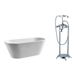 """AKDY - AKDY AK-ZF294 67"""" European Style White Acrylic Free Standing Bathtub w/ Faucet, - AKDY free standing acrylic bathtubs come in many styles, shapes, and designs. The acrylic material used for tubs is very durable, light weight, and can be molded into a variety of shapes and styles which explain the large selection available in this product category. Acrylic free standing tubs are a cost efficient way to give your bathroom a unique beautiful touch. A bathtub is no longer just a piece of cast iron metal thrown into a bathroom by a builder."""