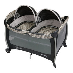 Graco - Graco Pack n Play Playard with Twin Bassinet - Vance - 1812884 - Shop for Playpens from Hayneedle.com! Designed for parents of twins the Graco Pack n Play Playard with Twin Bassinet - Vance features two removable bassinets with quilted bumpers and quilted mattress pads which provide a cozy and comfortable space for your babies to nap. Each bassinet is made to hold one child up to 15 pounds. The twin bassinets also have dome canopies so you can easily shield them from bright light making it easier for them to sleep. Easily converted to a playard the wheels make moving this pack n play simple while the innovative squeeze latch makes folding this playard quick and easy. The mesh on all sides allows for maximum ventilation and the carrying bag makes traveling and storing this pack n play simple.About GracoWhen Russell Gray and Robert Cone joined forces in 1942 baby products were not their focus. The pair originally formed Graco Metal Products in Philadelphia Penn. The firm created machine and car parts for local manufacturers for 11 years. Gray left in 1953 leaving Cone as sole owner and Cone got the idea to manufacture baby products from a Graco employee David Saint father of 9. Inspired by the idea of Mrs. Saint soothing her babies on the backyard glider the Graco Swyngomatic was born. The Swyngomatic sold millions catapulting Graco to become a leader in manufacturing juvenile products in the process. Since then Graco has set the industry standard with products like the Pack N' Play and the Travel System. Graco is one of the world's best known and most trusted juvenile products companies. Product safety quality reliability and convenience are their main sources of pride and are recognized by parents and parenting authorities alike.