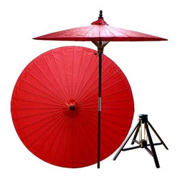 Oriental Unlimted - 7 ft. Tall Cherry Patio Umbrella w Bamboo Sta - Includes Bamboo stand. Handcrafted and hand-painted by master artisans. 100% Waterproof and extremely durable. Umbrella shade can be set at 2 different heights, 1 for maximum shade coverage and the other for a better view of the shade. An optional base, which secures the umbrella rod and shade against strong winds and rain. Patio umbrella rod and base is constructed of stained oak hardwood for a rich look and durable design. Umbrella shade is made of oil-treated cotton. Minimal assembly required. Canopy: 76 in. D x 84 in. HRed is symbolic of happiness, marriage and prosperity in Asian culture. Add this rich, colorful patio umbrella to any outdoor area to create a lively and stimulating mood.