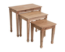 Great Deal Furniture - Douglas Acacia Wood Nesting Tables (Set of 3), Natural Stained - Add versatile tables to your indoor decor with our Douglas Acacia Nested Tables. Each of these three different nested tables can be placed around the house as side tables.