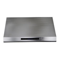 Cavaliere 36W in. Sharp Top Edge Under Cabinet Range Hood - The Cavaliere 36W in. Sharp Top Edge Under Cabinet Range Hood looks sharp and is highly effective. A powerful range hood, this one clears the air and lets you keep your cabinet space. It's designed to mount under existing cabinets and is made of premium brushed stainless steel with a sharp edge design. An ultra-quiet and supremely powerful 360W dual chamber motor offers four speeds and a handy timer. Dishwasher-safe, stainless steel baffle filters quickly clear the air. A touch sensitive keypad with LED blue lights and two halogen lights make your kitchen work space even more convenience. A heat sensitive auto speed function controls the fan speed automatically so you don't have to. Additional Information: 4 speed levels with timer functionTouch sensitive LCD keypad with blue lightingDishwasher-safe stainless steel baffle filtersAirflow: 1000 CFM Two 35-watt halogen lightsHeat sensitive auto speed function controls speed automaticallyAbout CavaliereCavaliere offers a complete stainless steel range hood collection. They blend superior components with the latest technologies to create range hoods that cater to your needs. Cavaliere has a special understanding of the kitchen environment, ergonomics, aesthetics, and integration within your home or workplace. They specialize in wall-mounted, island, or under cabinet range hoods that make a statement in your kitchen.