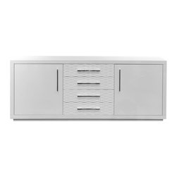"White Line Imports - Montgomery High Gloss White Buffet with Wave Drawers - With wave drawers, 3/8"" tempered frosted glass shelves, chrome handles, close self drawers, this Montgomery High Gloss White Buffet will be an elegant and contemporary addition to your dining room."