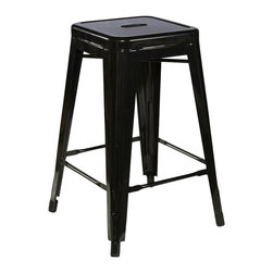 Linon - Linon Square Metal Bar Stool in Black (Set of 2) - Linon - Bar Stools - 03242BLK02ASU - Mixing contemporary design with industrial flavor, the Black Square Metal Stool is a trendy seating addition. Crafted from heavy duty steel, the stool has a stationary seat and multiple footrests for added comfort. The dark black finish will add a bit of versatility to the piece, allowing it to easily coordinate with your existing decor. Perfect for pulling up to a counter, bar or high top table. Arrives fully assembled.