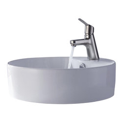 Kraus - Kraus Sink Ferus Basin Faucet Brushed Nickel - Add a touch of elegance to your bathroom with a ceramic sink combo from Kraus
