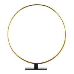 "Arteriors - Arteriors Home - Gregory Small Ring Sculpture - 4142 - These simple polished brass rings are a great graphic sculpture by themselves, and even more impactful when shown in multiples to create interlocking circular patterns. Features: Gregory Collection Ring Sculpture Polished Brass/Black IronMultiples to create interlocking circular patterns Some Assembly Required. Dimensions: H: 27"" W: 24"" D: 3"""