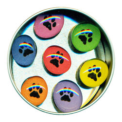 """Paw Prints Glass Gem Magnet Set - Handmade in our studio, our Paw Print glass gem magnets started with a tiny painting which was reduced to size and reproduced. We use super strong ceramic magnets, so they're not only cute, they're functional. Not like those magnets that fall off when you close the refrigerator door!) Each magnet is about 3/4 inch wide, the tin is 2.75"""" wide. Set of 7 in a tin. Made in the USA."""