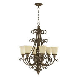 Joshua Marshal - Six Light Classic Bronze Amber Scavo Glass Up Chandelier - Six Light Classic Bronze Amber Scavo Glass Up Chandelier