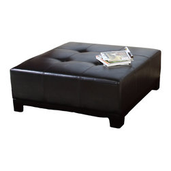 "Great Deal Furniture - Avalon Leather Ottoman Coffee Table - Perfect as a coffee table with square dimensions of 39"" x 39"" x 16.0"".  Great looking tufted detail on a rich espresso finish. Small sturdy wooden legs in a dark brown finish.  Classic ottoman style combined with modern stability.  Rich tufted top design leather ottoman."