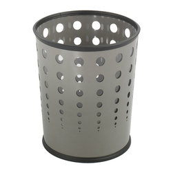 "Safco - Bubble Wastebasket (Qty.3) - Grey - These puncture resistant, steel receptacles bring a contemporary and stylish look to any room. Bottom is recessed 1"" to provide air circulation in the event of fire. Rubber rib on top and bottom of basket helps to prevent from scuffing. The PVC clear plastic liner (included) prevents waste content from spilling.; Features: Material: Steel, PVC Plastic (Liner); Color: Grey; Finished Product Weight: 3 lbs.; Assembly Required: No; Limited Lifetime Warranty; Dimensions: 11 5/8""Dia. x 12 1/2""H"