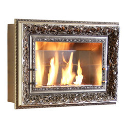Vintage Picture Frame Three Burner Wall Fireplace, Madison