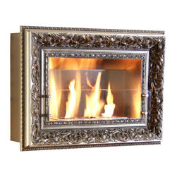 Terra Flame - Vintage Picture Frame Wall Fireplace, Madison - Look to this hanging fireplace for adding interest that's as pretty as a picture — and far more exciting. You'll get guests talking with both the lovely, ornate frame on the outside and the clean-burning fuel inside that's as easy to operate as a candle. Made to order.