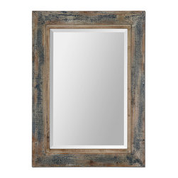 Uttermost - Bozeman Distressed Blue Mirror - Mirrors are the soul of a room. They add light, depth and can reflect a beautiful view or take the place of a window in a small room. Whatever you decide, this distressed blue mirror can be hung vertically or horizontally giving you more choices for a perfect fit.