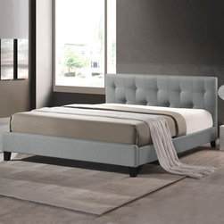 Baxton Studio Annette Gray Linen Modern Bed with Covered Buttons -