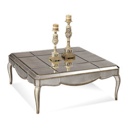 Bassett Mirror - Collette Cocktail Table - Antique Mirror with Gold and Silver Leafing.