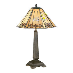 Antique Resin Arm and Copper with glass shade in Painted Finish -