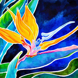 "Bird Of Paradise (Original) by Rachel Brown Smith - ""Bird of Paradise,"" is an original high pigment watercolor of a vibrant Bird of Paradise flower in Maui Hawaii painted on 100 percent cotton paper and mounted on archival quality board."