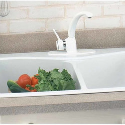 "Renovators Supply - Kitchen Sinks White Carea Double Kitchen Sink | 99966 - Kitchen Sinks: Heat- shock- and stain-resistant- this easy-care white double sink is an excellent choice with its clean good looks and simple lines. Compression molded with thermoset resin. Carea is a composite material that is mineral-based and completely non-porous. The double sink measures 32 1/2"" wide with a 21 3/4"" projection. The large bowl is 9"" deep and the small bowl is 8"" deep. The box includes: two sink strainers- attachment brackets and screws- template for countertop- ten-year manufacturer warranty card with care instructions and a tube of silicone."