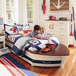 Speedboat II Bed & Trundle - This darling nautical bed was inspired by classic teak boats, and hides a trundle underneath for a sleepover guest.