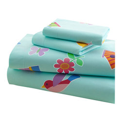 Wildkin - Olive Kids Birdie Toddler Sheet Set - Our Birdie sheet set is something to tweet about! This sheet set has a background of robin's egg blue with birds, nests, birdhouses, flowers and polka dots.