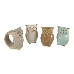 Creative Co-op - Set of 4 Shabby Chic Owl Stoneware Napkin Rings by Creative Co-op - Add a vintage, distressed look to your kitchen table with this set of owl napkin rings! Comes in a set of 4.