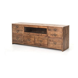 Four Hands - Hughes Media Console - Organize your media musts in this clever, incredibly crafted console. Made of salvaged pine that's been bleached, sanded and finished to heighten the natural beauty of the wood, it features smart label-slot drawer pulls.