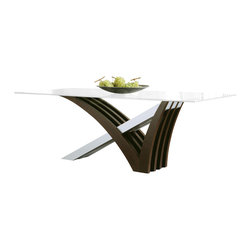 Rossetto - Mirage Dining Table with Clear Glass Top - Features: