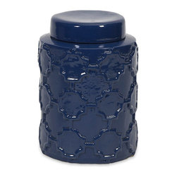 iMax - iMax Essentials Marine Blue Small Canister X-53281 - With it's bright color and embossed quatrefoil pattern, this small lidded ceramic canister is both a fun and functional part of the Marine Blue collection from Essentials by Connie Post.