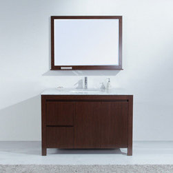 "Stufurhome - Sierra Single Sink Vanity with Carrera Marble Top - With its subtle retro feel, the 48"" Sierra Single Sink Vanity is as functional as it is beautiful. The Carrera Marble countertop lends a hint of elegance to the handsome and stately vanity, which features a cocoa-toned finish. Double drawers and doors conceal generous storage below, making it easy to keep your space organized. A matching mirror is included to create an impressively coordinated set."