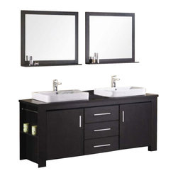 """Design Elements - Design Elements DEC083D Vanity in Espresso - The Washington72"""" double-sink vanity in espresso is stylishly constructed of solid plywood panels with veneer laminate. The stylish white rectangular sinks and sleek espresso cabinetry bring style and utility to any bathroom. This vanity includes soft-closing cabinet doors and three pullout drawers, all adorned with satin nickel hardware. The sides of the vanity feature a removable towel bar and shelving for additional storage and utility. Two matching mirrors with shelves are included. The Washington Bathroom Vanity is designed as centerpiece to awe and inspire the eye without sacrificing quality, functionality, or durability."""